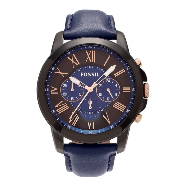 Fossil Men's 'Grant' FS5061 Black-plated Stainless Steel Chronograph Dial Blue Leather Strap Watch 24444419