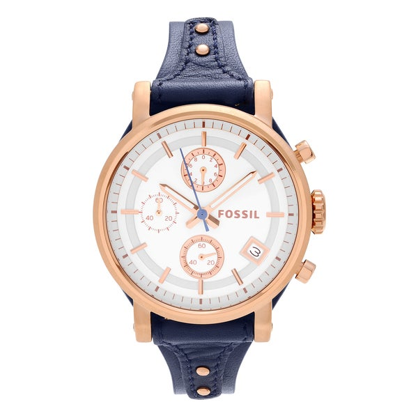 Fossil Women's ES3838 'Original Boyfriend' Rose Goldtone Stainless Steel Chronograph Blue Leather Strap Watch 24444425