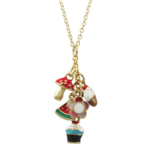 Luxiro Gold Finish Enamel Flower Cupcake Charm Children's Pendant Necklace - Red 24445458