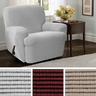 """Maytex Connor Grid Stretch 4 Piece Recliner Furniture Slipcover - 30-40"""" wide/37"""" high/38"""" deep"""