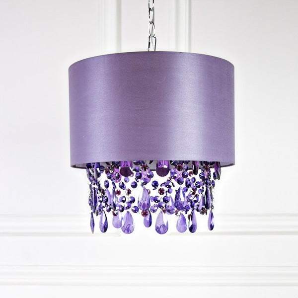 Tracy Porter Poetic Wanderlust Purple 17.5-inch High Alisal Hanging Lamp with Cascading Crystals 24450193