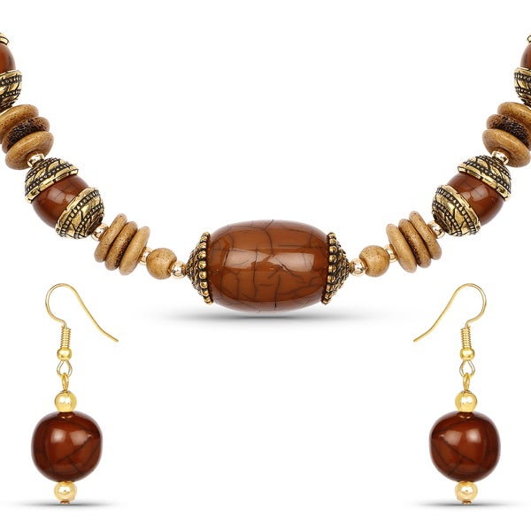 Liliana Bella Gold Plated Handmade Brown Beaded Necklace and Earrings Set 24457323