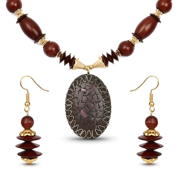 Liliana Bella Gold Plated Handmade Brown Beaded Oval Necklace and Earrings Set 24457630