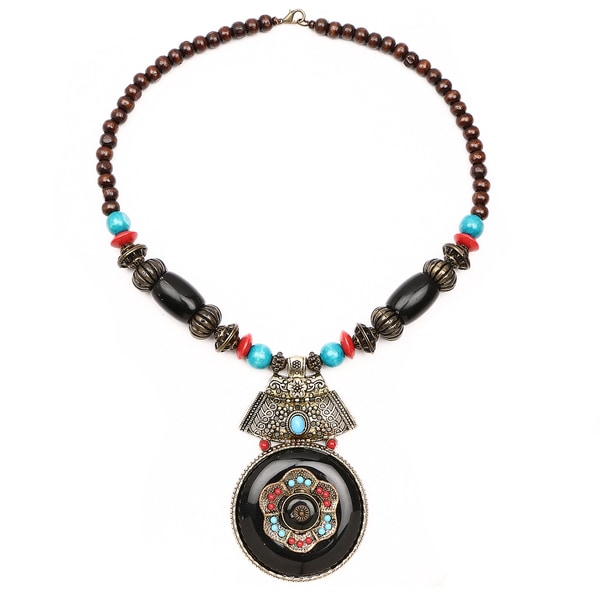 Liliana Bella Oxidised Gold Plated multicolour Wooden Beaded Necklace with Black Glass Stone 24457904
