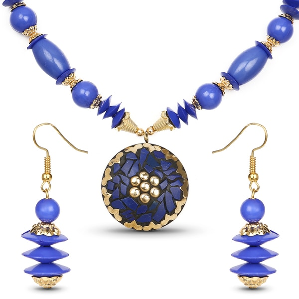 Liliana Bella Gold Plated Handmade Blue Beaded Necklace and Earrings Set 24458109
