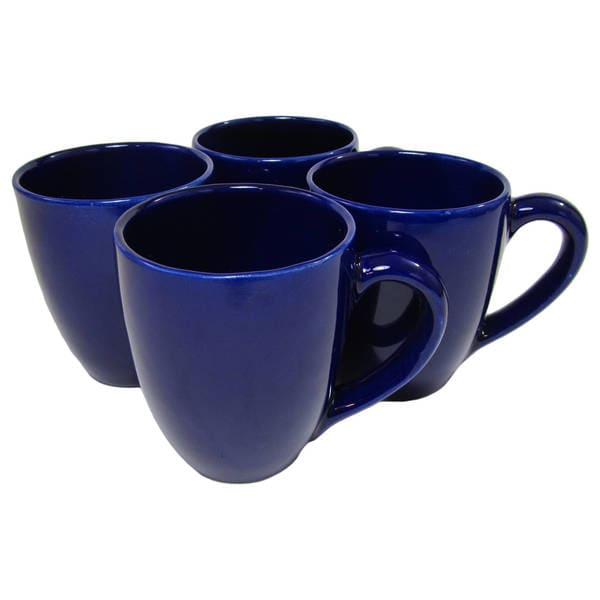Le Souk Ceramique UBLU57 Stoneware Tea/Coffee Cups, Set of 4, Solid Blue 24468063