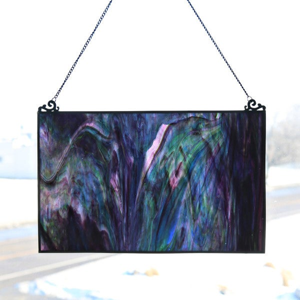 River of Goods Blue and Purple Watercolor 10.75-inch High Single Pane Stained Glass Window Panel - M 24468068
