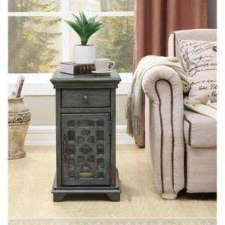 """Somette 1-Drawer, 1-Door Textured Grey Chairside Cabinet - 14""""L x 20.5""""W x 25""""H"""
