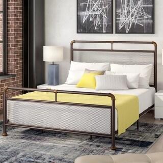 Corvus Lorraine Vintage Style Antique Bronze Metal Bed with Mesh Accents