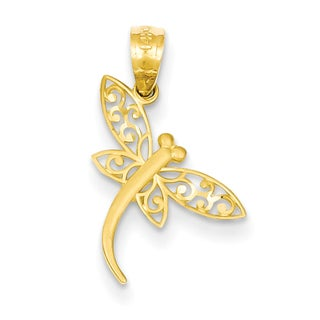 14 Karat Yellow Gold Diamond-cut Dragonfly Pendant with 18 Inch Chain 24492625