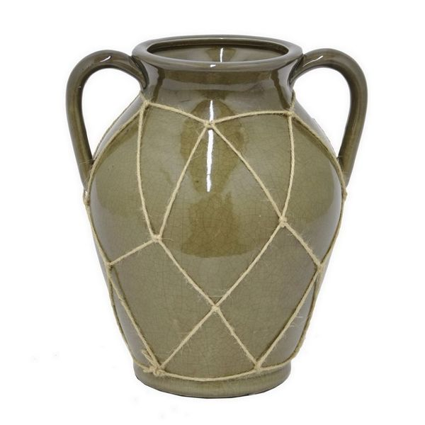 Benzara 10.5-inch Olive Green Ceramic Flower Pot 24493162