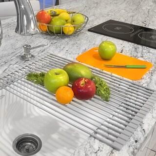 Warm Grey Roll-up Dish Drying Rack