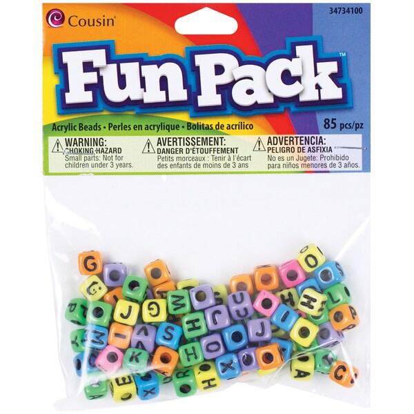 Fun Pack Acrylic Alphabet Beads-Square Rainbow 85/Pkg 24513690