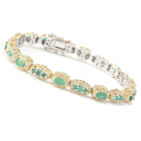 Michael Valitutti Palladium Silver Multi Shaped Zambian Emerald Tennis Bracelet 24516581