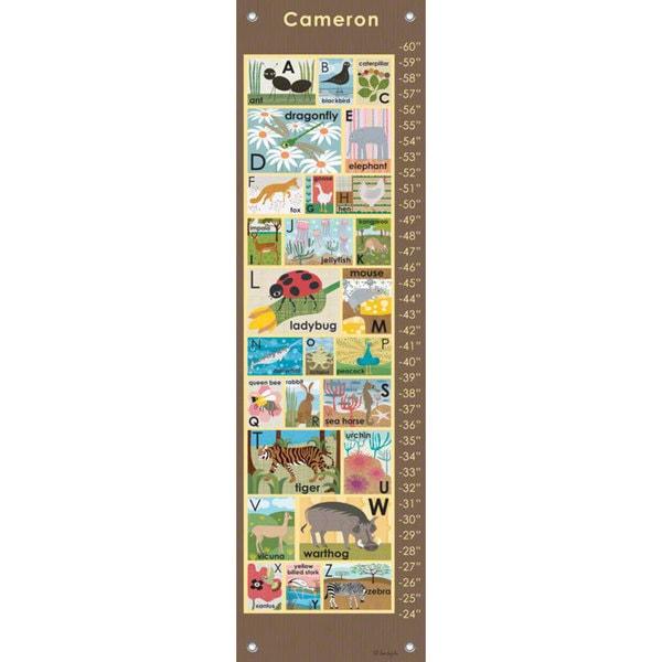Oopsy Daisy Modern Alphabet on Chocolate Canvas Growth Charts 24536040