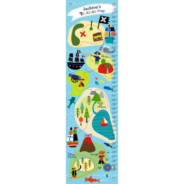 Oopsy Daisy Pirate's Treasure Map Artist-grade Canvas Growth Charts 24536637