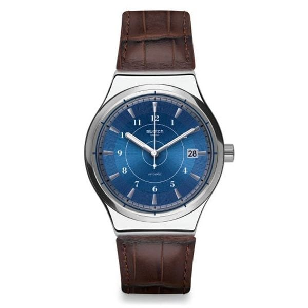 Swatch Men's YIS404 'Sistem Fly' Automatic Brown Leather Watch 24537341