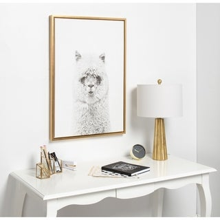 Kate and Laurel Sylvie Hairy Alpaca Black and White Portrait Framed Canvas Wall Art by Simon Te Tai