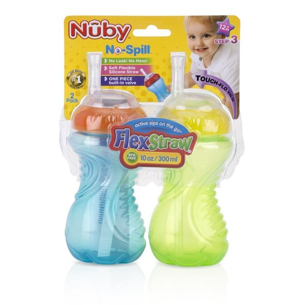 Nuby Aqua/Green No Spill 10-ounce Cup with Flex Straw (Set of 2) 24565314