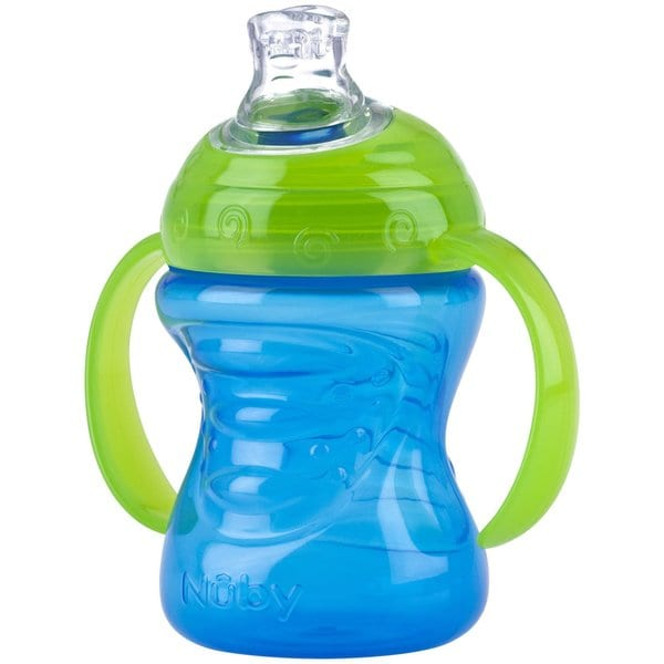 Nuby Blue and Green 8-ounce 2-Handle Cup with No-Spill Super Spout 24565347