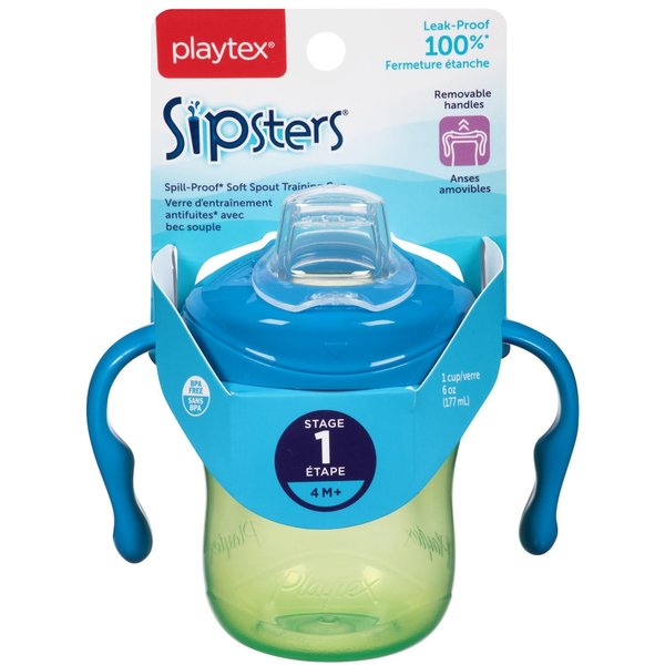 Playtex Blue/Green Sipsters Stage 1 Soft 6-ounce Spout Cup 24565423