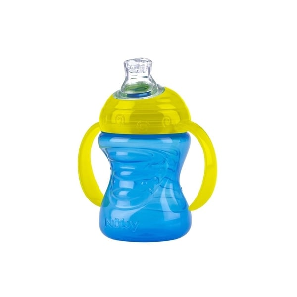 Nuby GripNSip Blue/Yellow 2-Handle 8-ounce Cup with No-Spill Super Spout 24565495