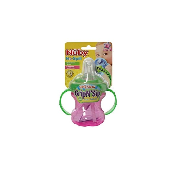 Nuby Pink/Green No Spill Grip N' Sip 8-ounce Cup 24565600