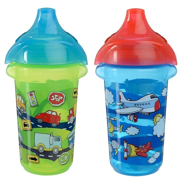 Munchkin Plastic 9-ounce Cars and Airplanes Click Lock Decorated Sippy Cup (Set of 2) 24565621