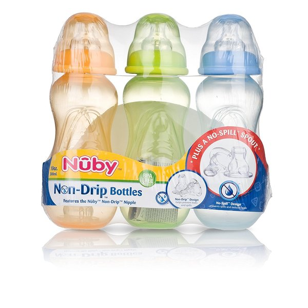Nuby Blue, Green, and Orange 10-ounce Non-drip Bottles (Pack of 3) 24567845