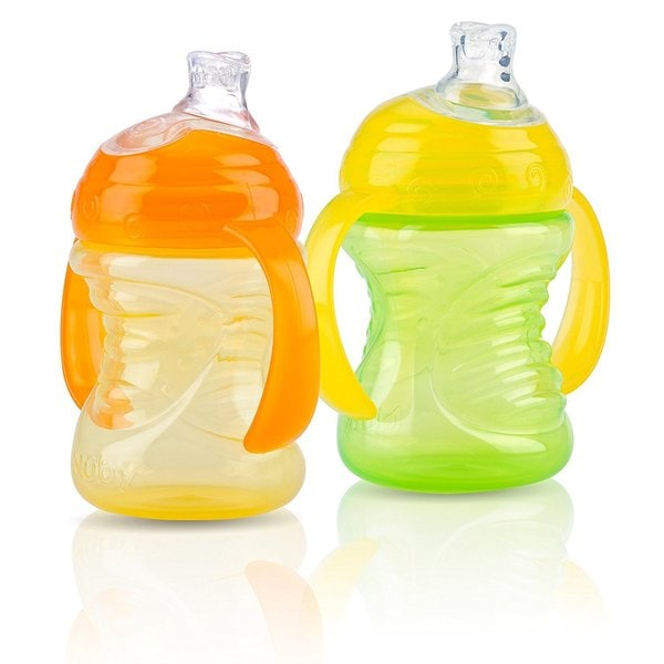 Nuby Green/Orange Silicone 8-ounce 2-Handle Cups with No-spill Super Spouts (Set of 2) 24567918