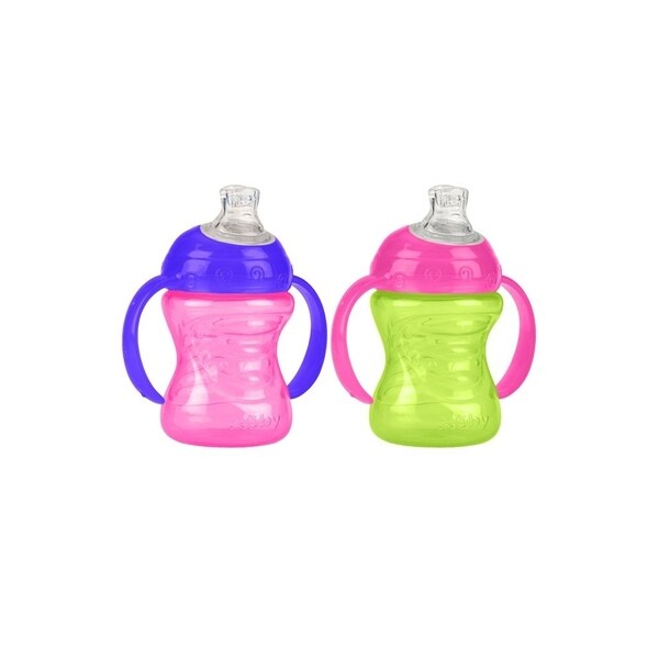 Nuby Pink/Green 2-Handle 8-ounce No-Spill Super Spout Cup with (Set of 2) 24567957