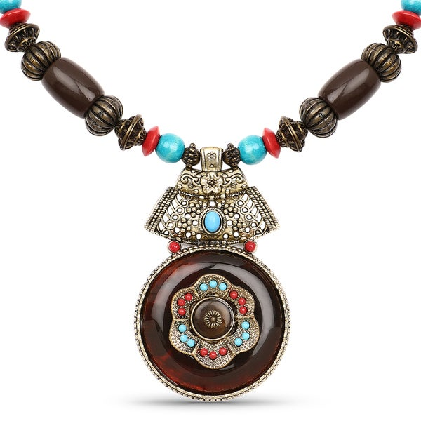 Liliana Bella Oxidised Gold Plated Turquoise and Brown Wooden Beaded Necklace with Glass Stone - Red 24584347