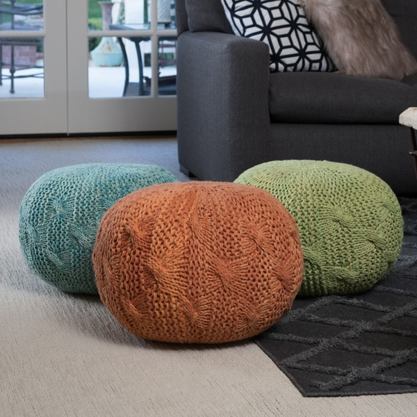 Deon Fabric Round Ottoman Pouf by Christopher Knight Home 24593758