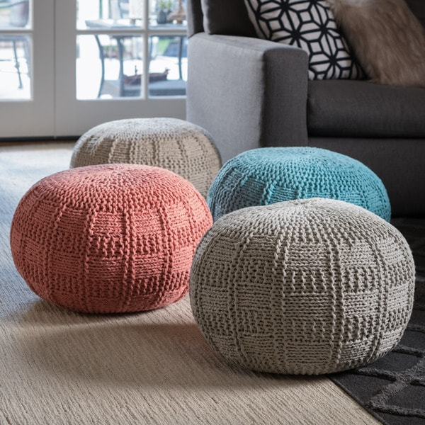 Christopher Knight Home Yuny Round Fabric Ottoman Pouf 24593825