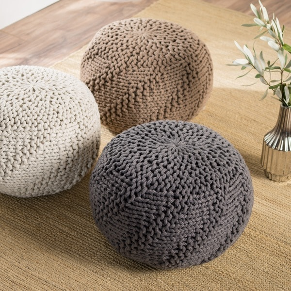 Hazel Weaved Fabric Round Ottoman Pouf by Christopher Knight Home 24593859