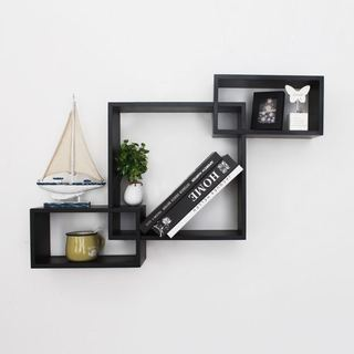 Adeco Black Wood Interlocking Floating Wall Shelves Shelf