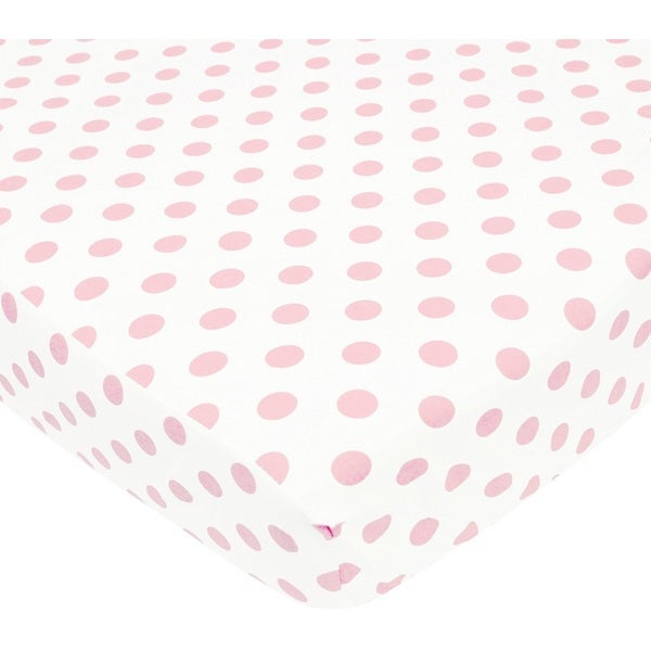 American Baby Company White and Pink Cotton Percale Crib Sheet 24604386