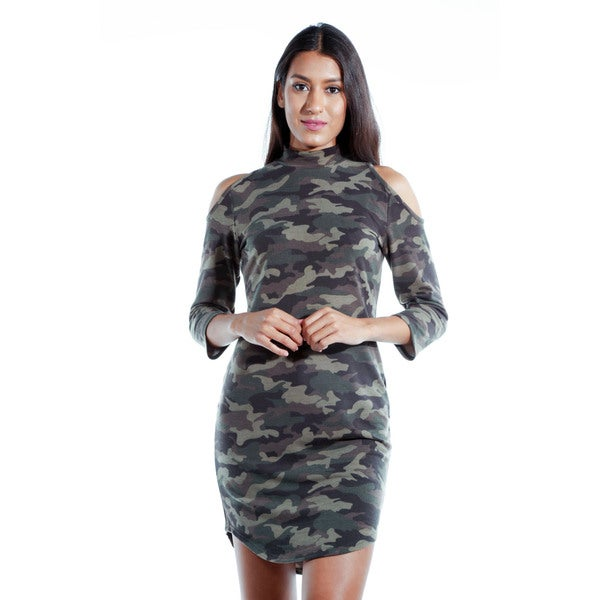 Women's Cotton Blend Camo Off Shoulder Mini Dress 24605179