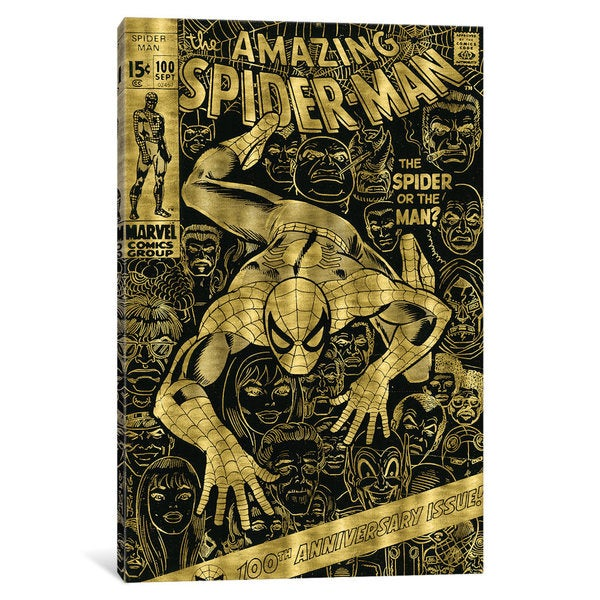 iCanvas 'Marvel Comics (Retro): The Amazing Spider-Man (1971) #100 Gold Leaf Comic Book Cover' by Marvel Comics Canvas Print 24634926