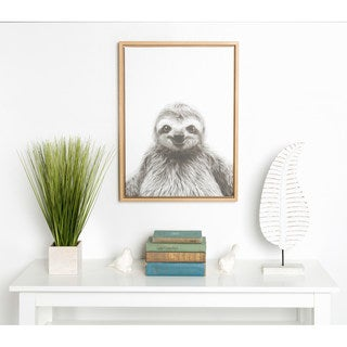 DesignOvation Sylvie Simon Te Tai 'Sloth' Black and White Portrait Natural Framed Canvas Wall Art
