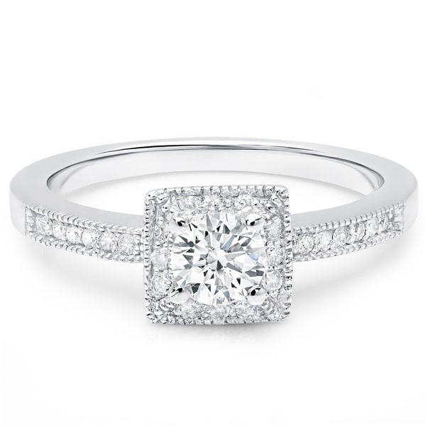 LeZari & Co 14k Gold 5/8ct TDW Square Princess Halo, Pave set round Diamond Engagement Ring (H-I, I1-I2) 24647993