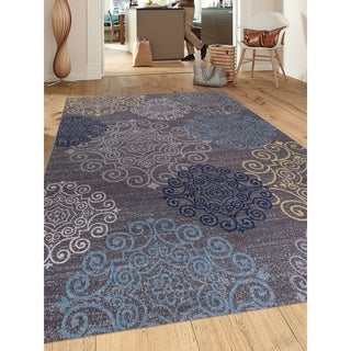 "Modern Floral Swirl Design Grey Nonslip Area Rug (5' 3 x 7' 3) - 5'3"" x 7'3"""