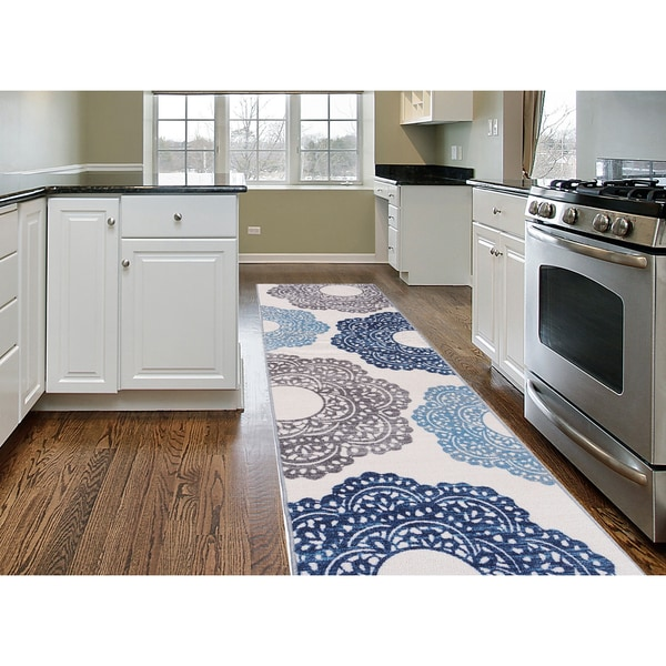 Blue Nylon Contemporary Large Floral Non-slip Non-skid Area Rug Runner - 2' x 7' 24648727