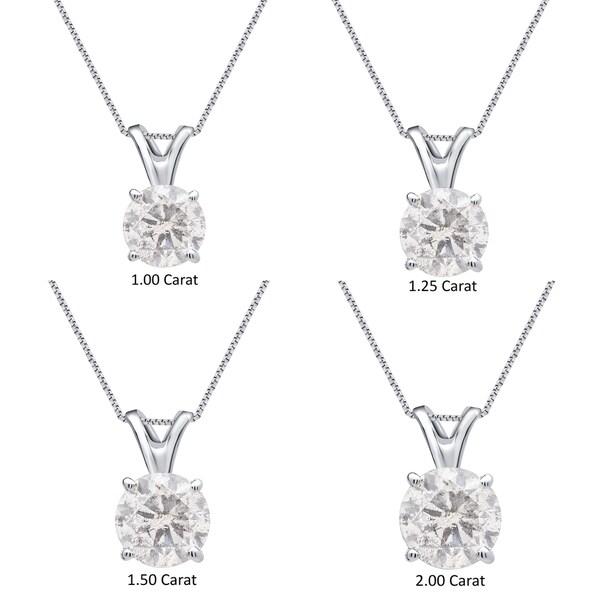 Divina 14k White Gold 1ct to 2ct TDW White Diamond Solitaire Pendant 24653939