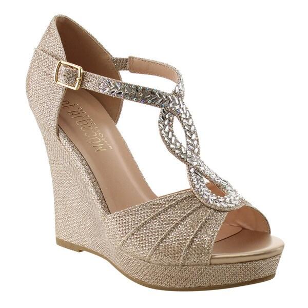 DE Blossom Collection Women's Platform Wedge Heel Criss-cross Dress Sandals 24656061
