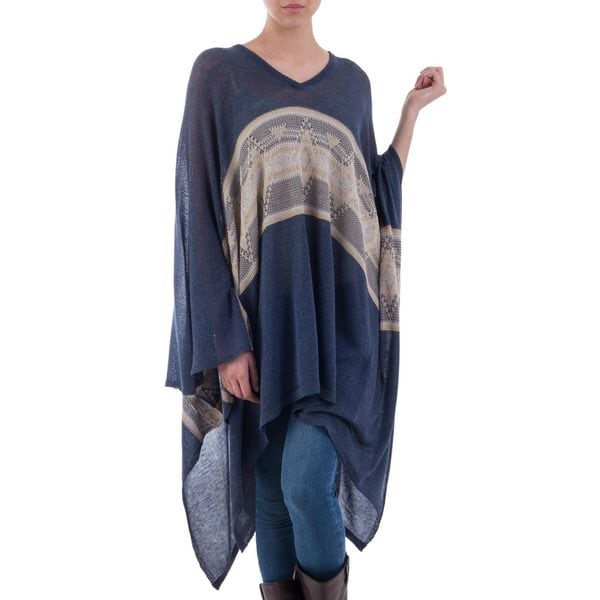 Handmade Cotton Blend 'Blue Inca' Poncho (Peru) 24659327