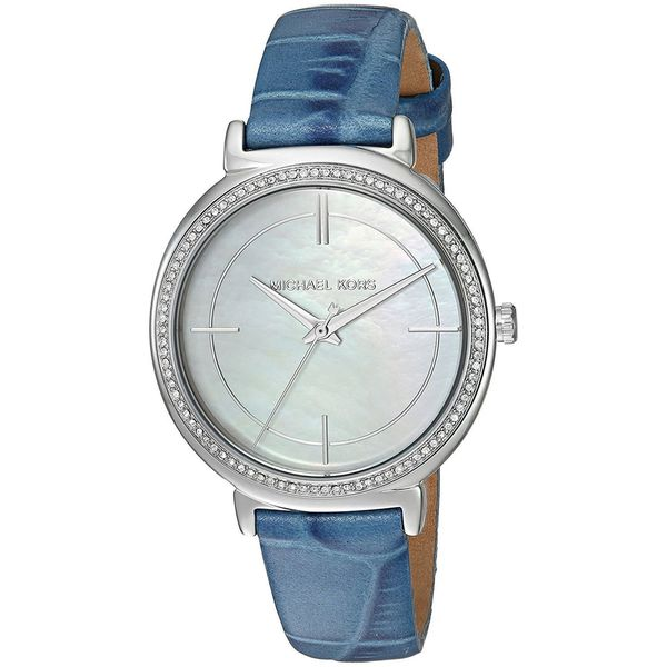 Michael Kors Women's MK2661 'Cinthia' Crystal Blue Leather Watch 24663201