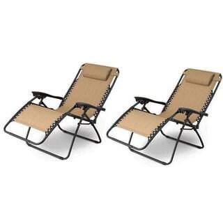Plum Blossom Lock Portable Saucer Khaki Folding Chairs (Set of 2)