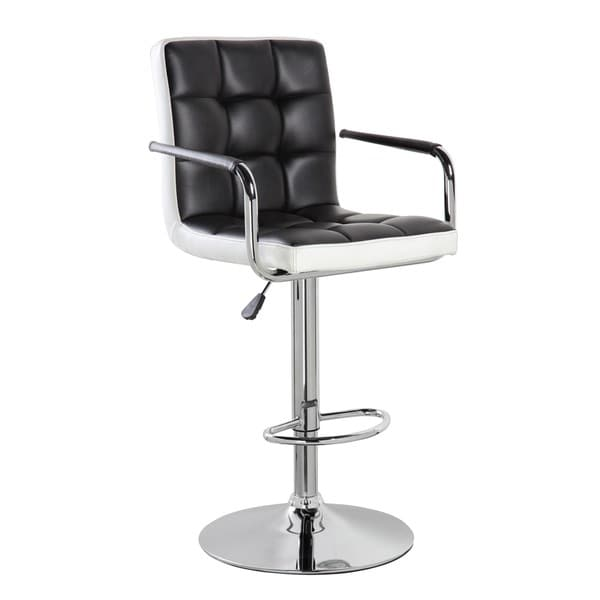 Swivel Chrome and Faux Leather Height Adjustable Bar Stool 24679038