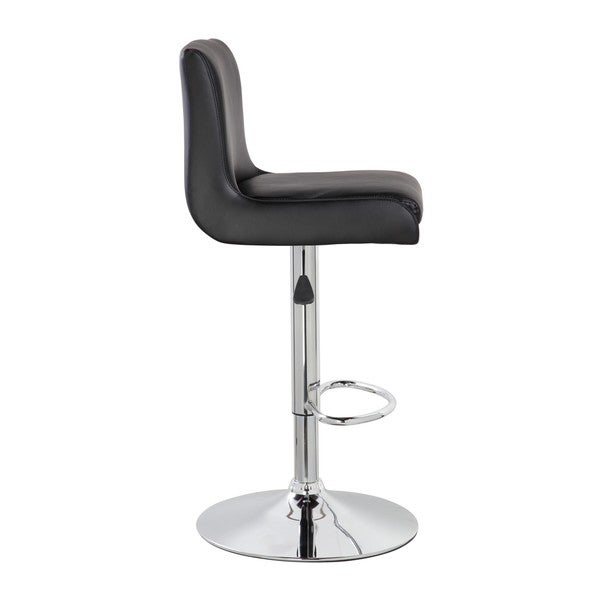 Chrome and Faux Leather Airlift Adjustable Swivel Barstool 24679059